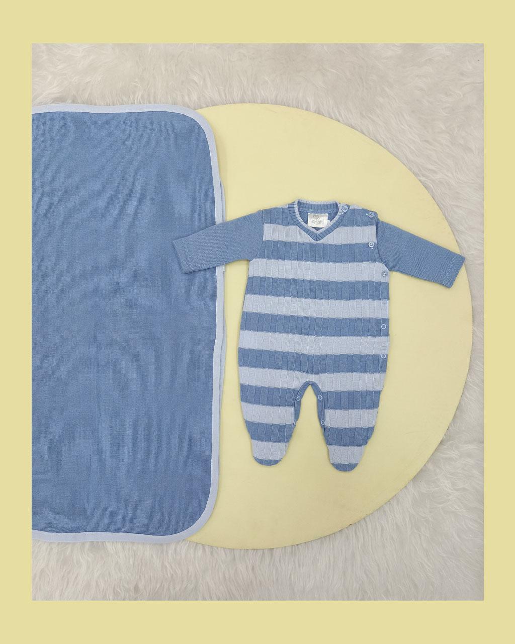 Saída Maternidade Masculina Linha  Azul Listrado com Manta Noruega
