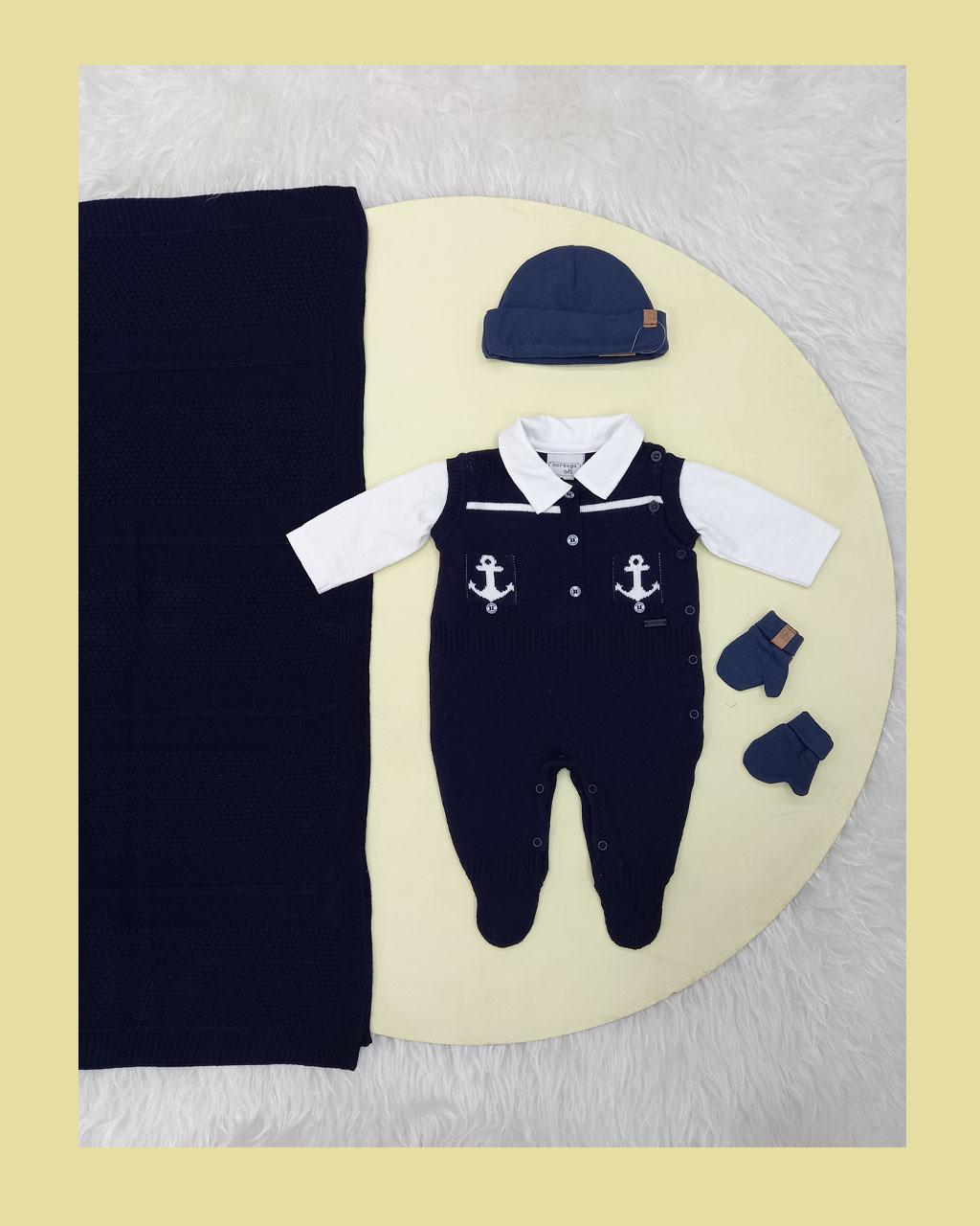 Saída Maternidade Masculina Linha e Algodão Azul Marinheiro Noruega