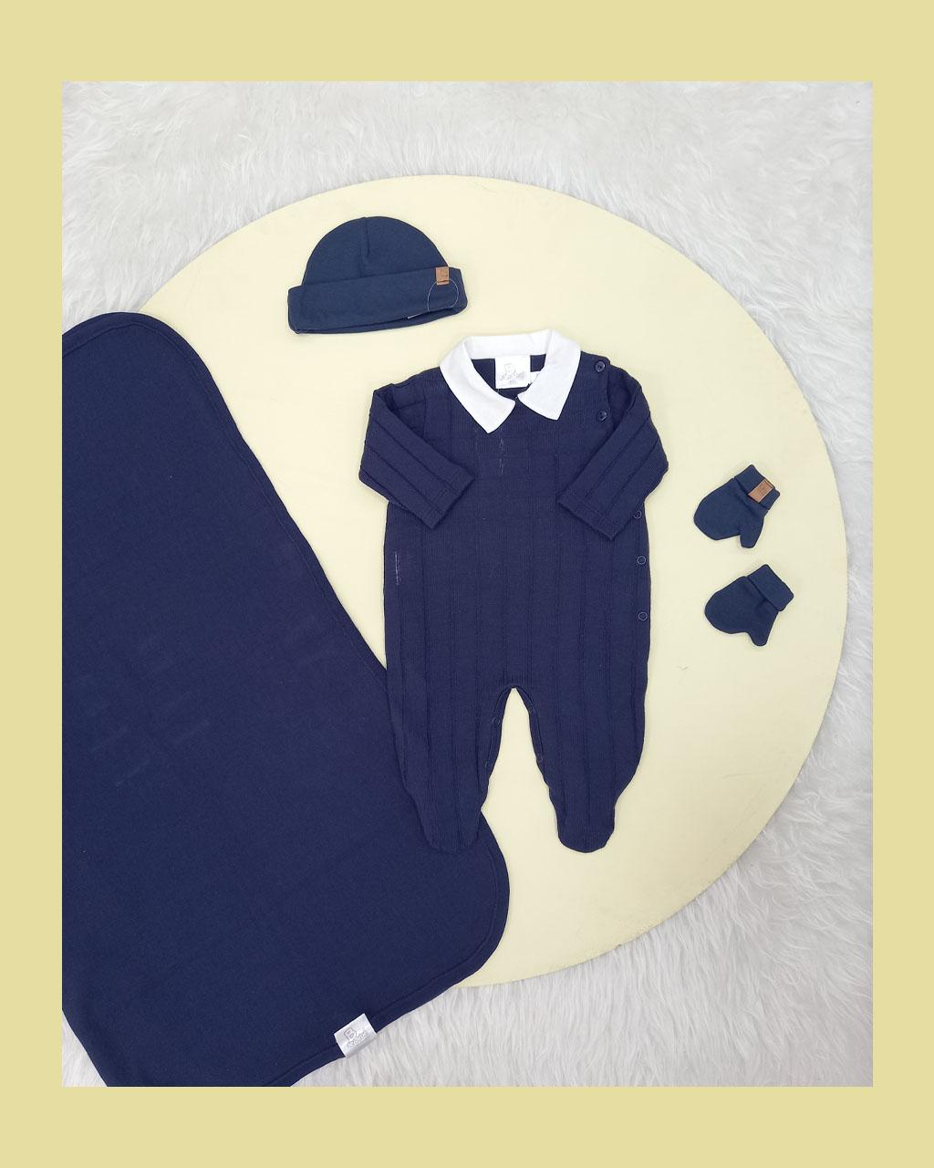 Saída Maternidade Masculina Linha e Algodão Azul Marinho com Golinha  Noruega