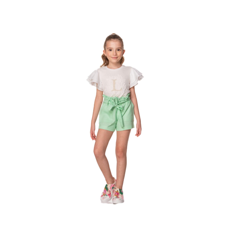 Short Infantil Clochard com Faixa para Amarrrar Verde Luluzinha