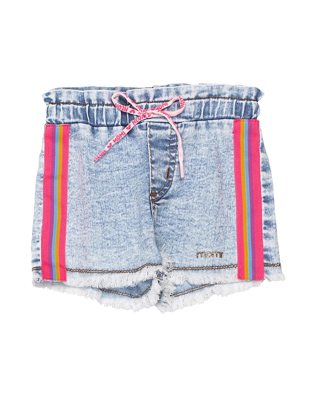 Shorts Bebê Jeans Lateral Colorida Momi
