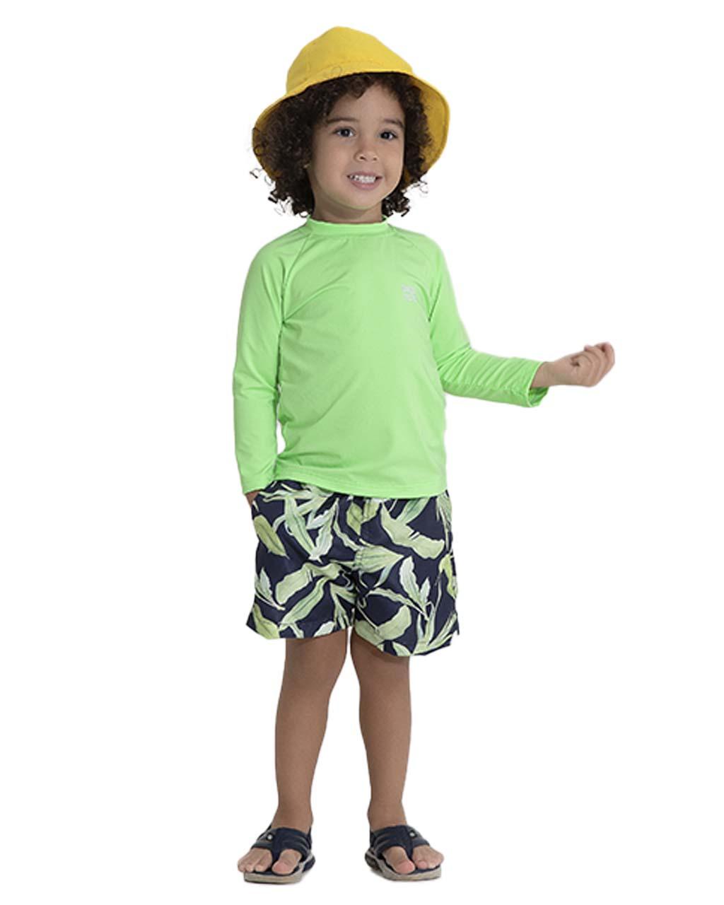 Shorts Infantil Folhas de Bambu Pega Mania