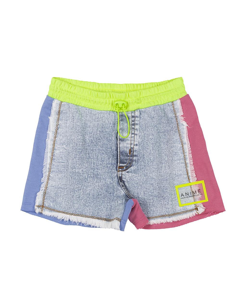 Shorts Infantil Jeans Com Detalhes Rosa Azul Neon Animê
