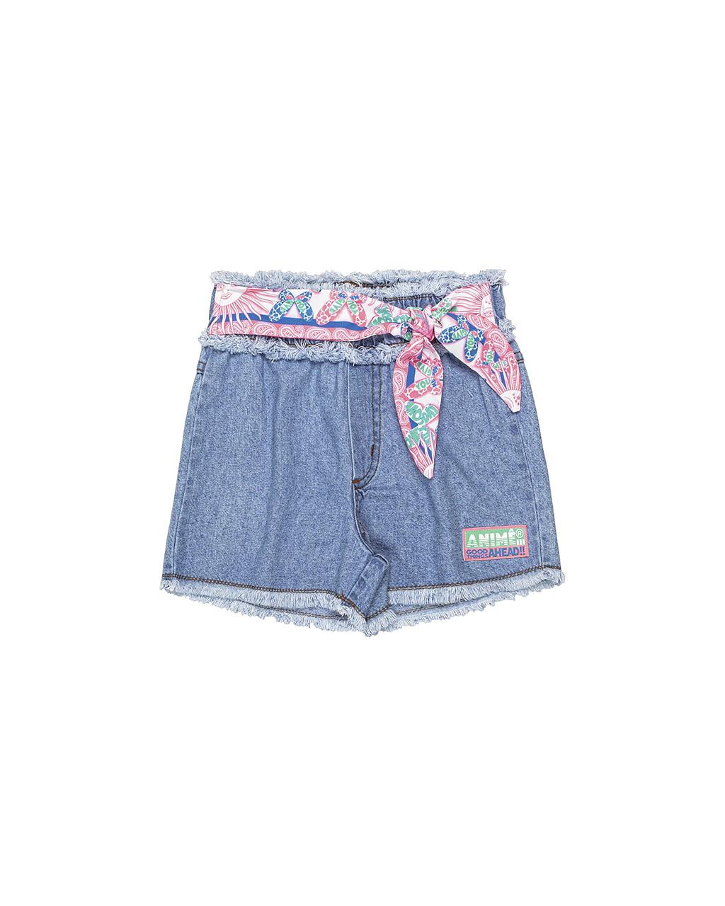Shorts Infantil Jeans com Faixa Animê