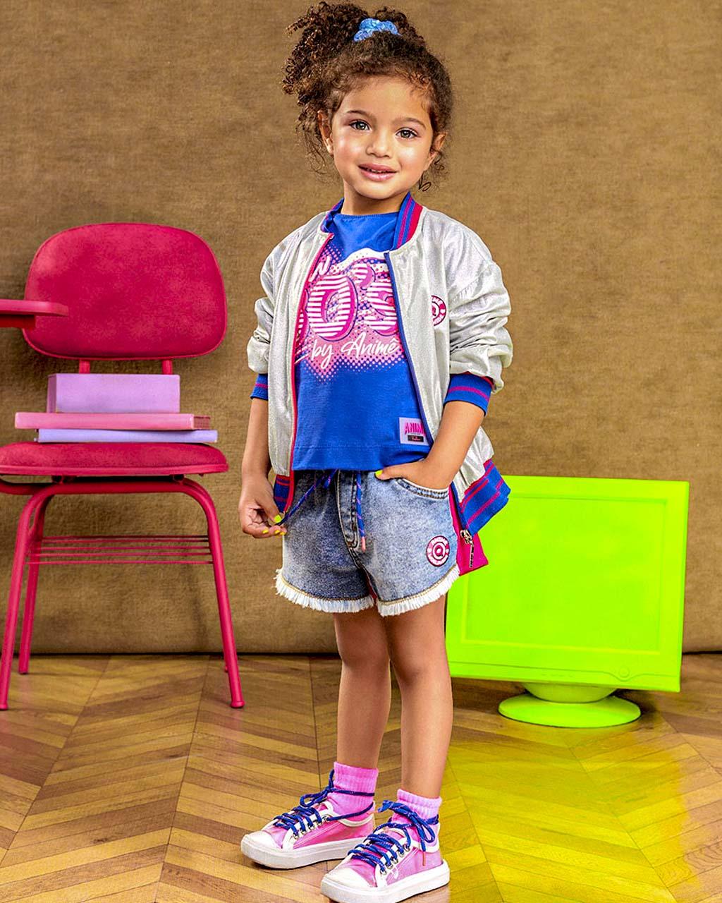 Shorts Infantil Jeans com Moletom Pink Animê