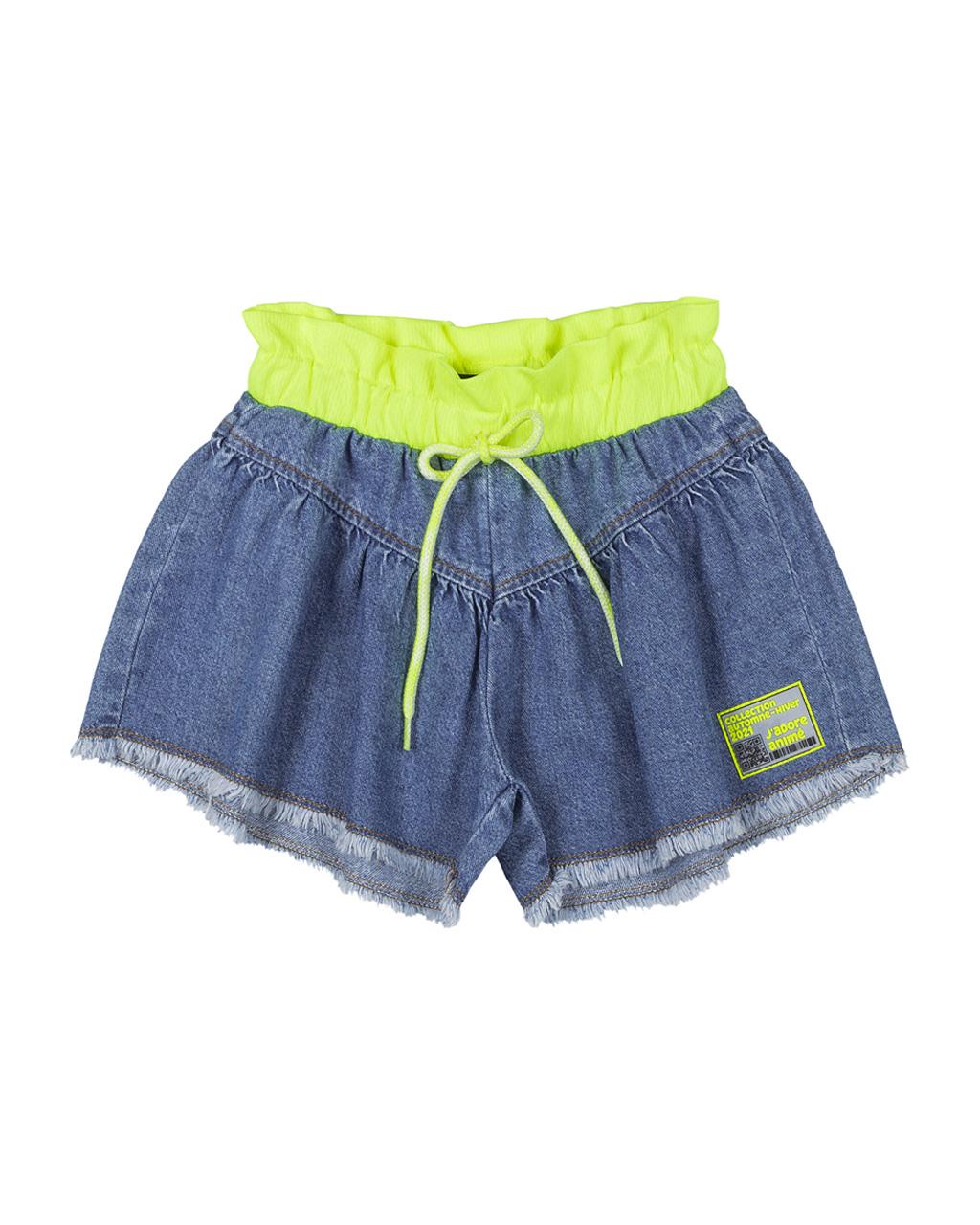 Shorts Infantil Jeans Com Neon Animê