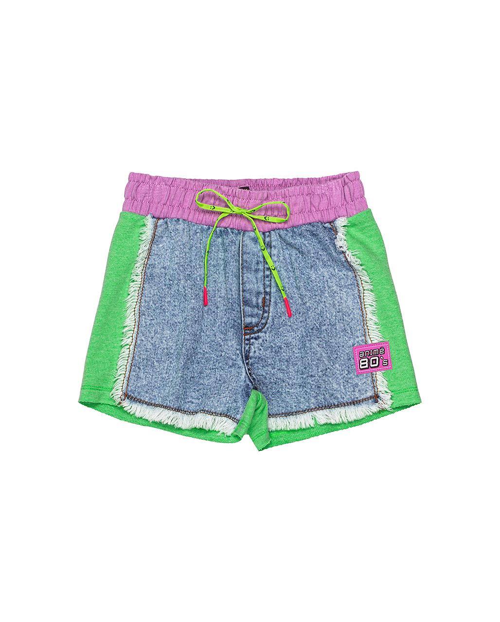 Shorts Infantil Jeans Lateral Moletom Animê