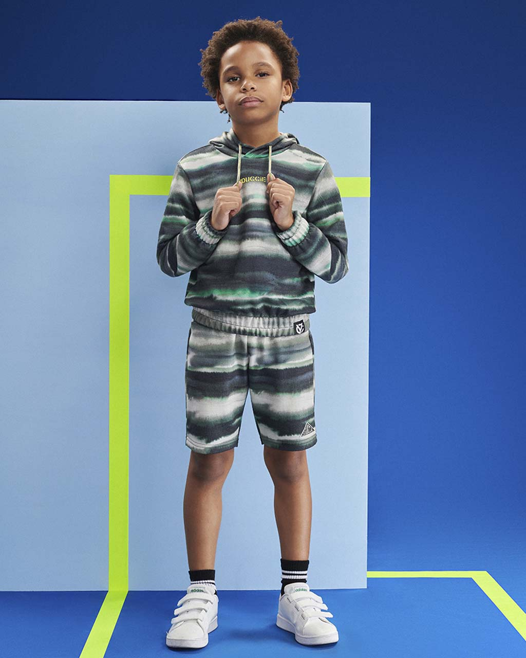 Shorts Infantil Moletom Manchado Aquearela Verde Militar Youccie