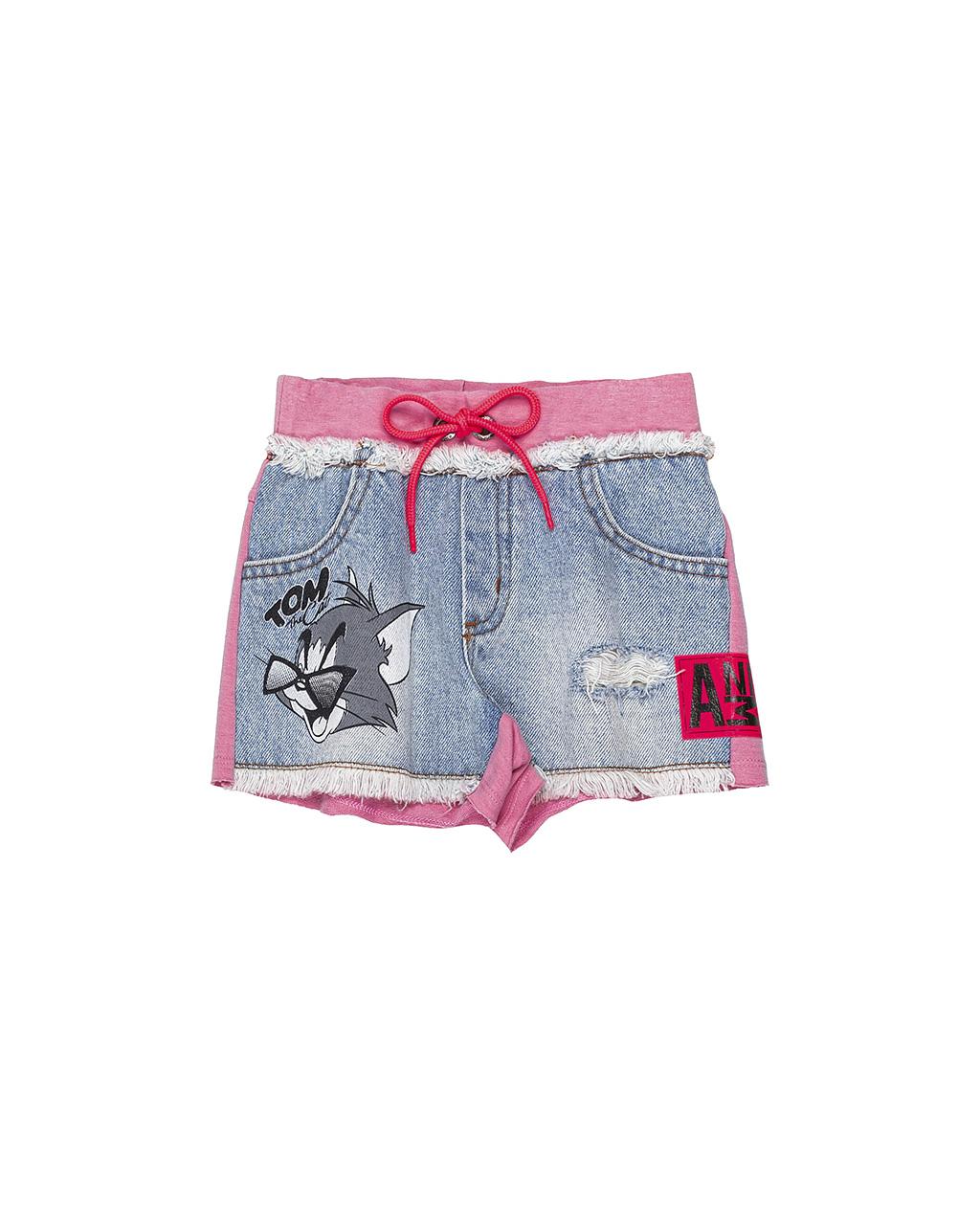 Shorts Infantil Tom e Jerry Jeans Lateral Rosa Animê
