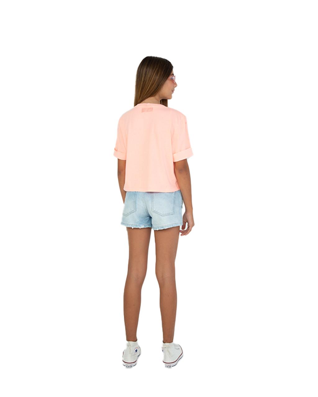 Shorts Jeans ClaroTeen Boyfriend com Corrente Dimy Candy