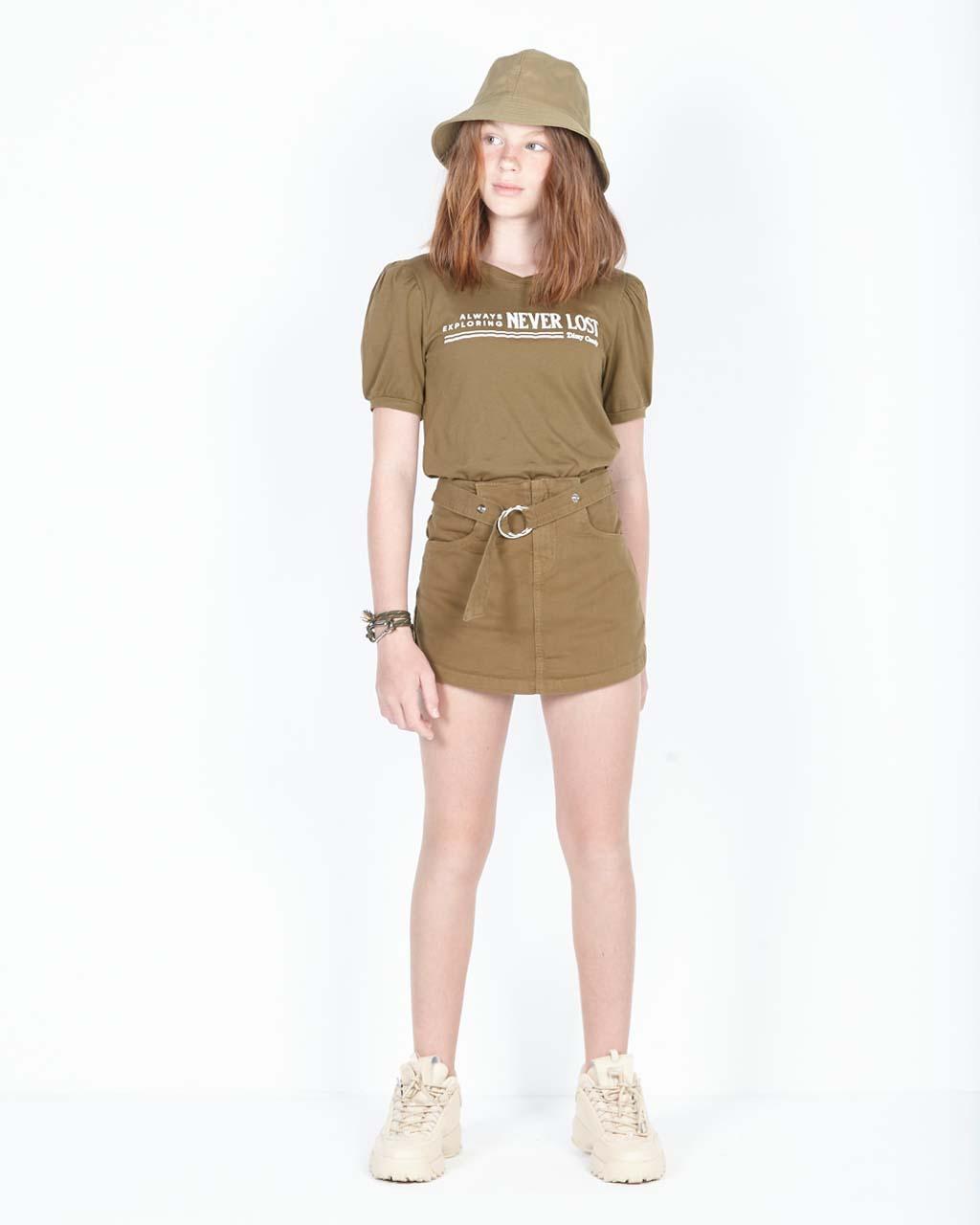 Shorts Saia Teen com Detalhe Removível Verde Militar Dimy Candy