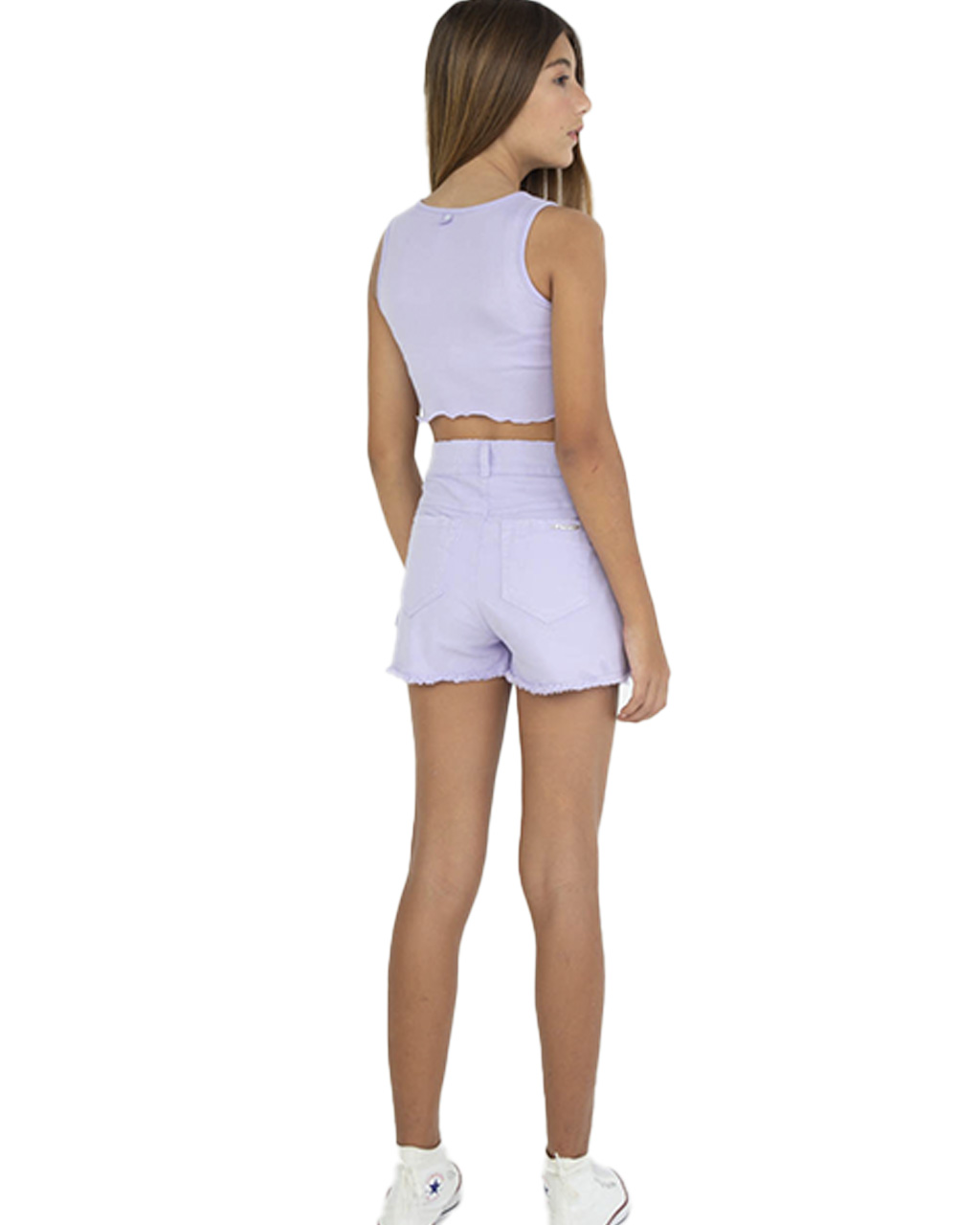 Shorts Saia Teen com Transpasse Roxo Dimy Candy