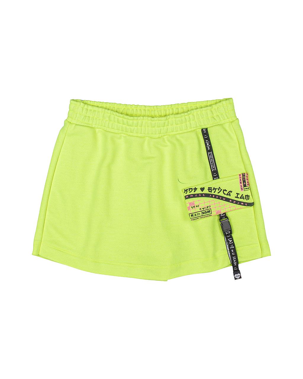 Shorts Saia Teen Detalhe Trava Mochila Verde Neon I Am