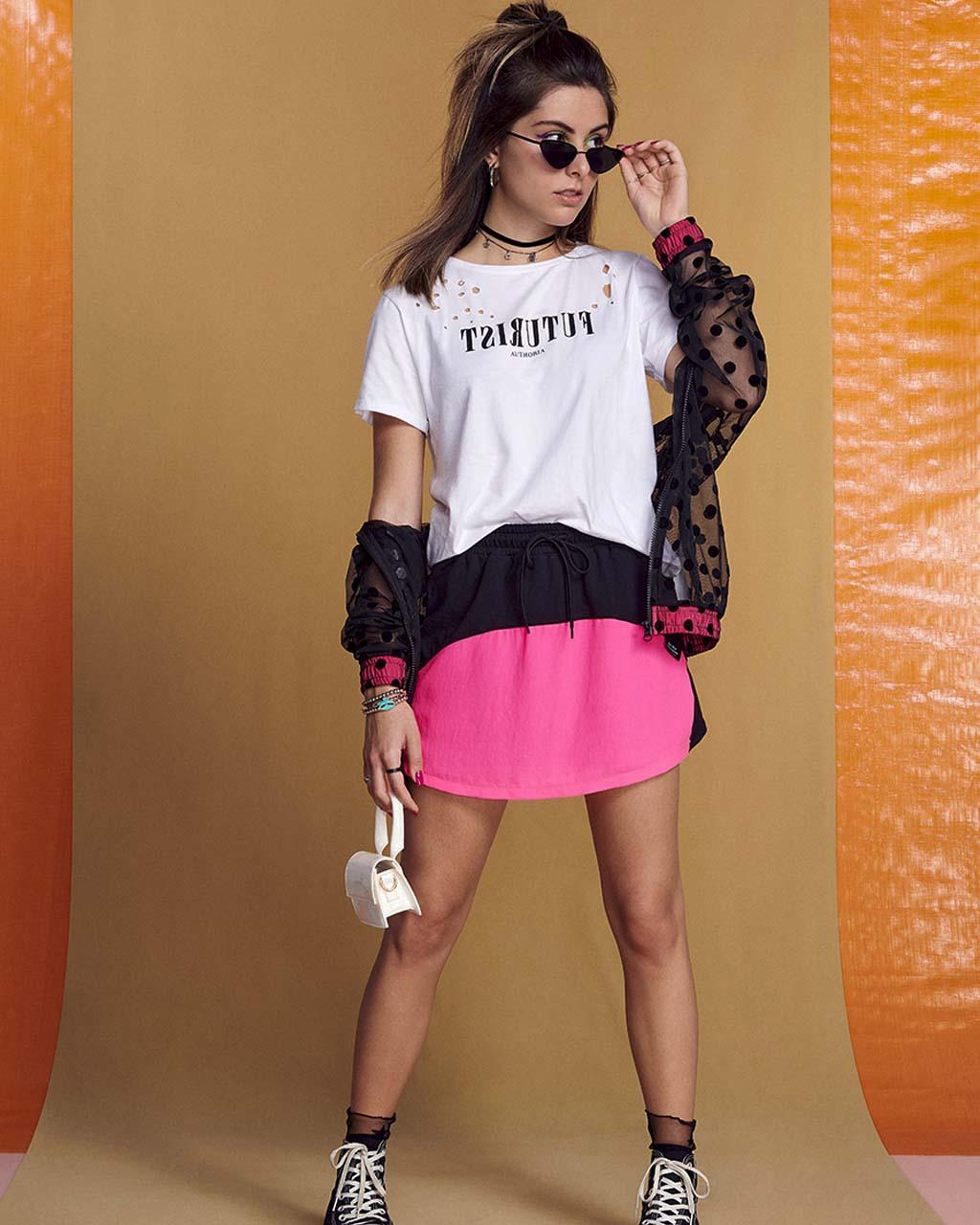 Shorts Saia Teen Mix Tecidos Preto e Pink Authoria