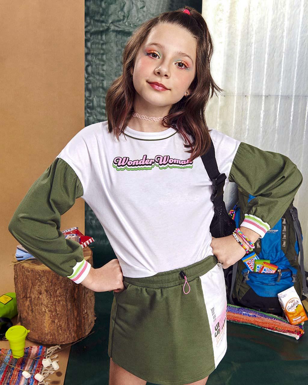 Shorts Saia Teen Moletom Unwind Verde Neon I Am