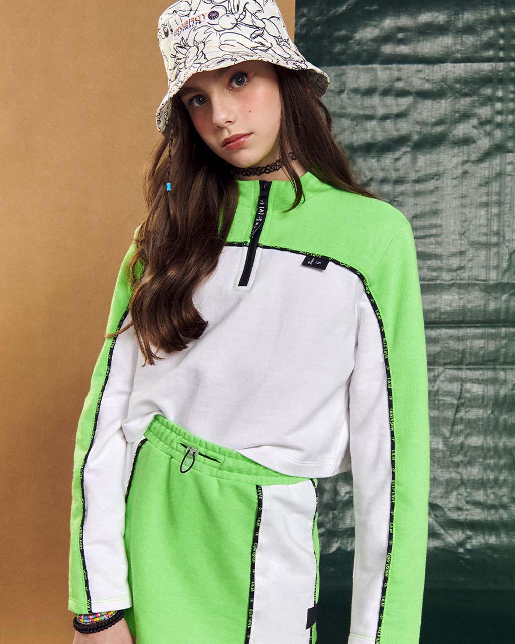 Shorts Saia Teen Moleton Verde Neon I Am