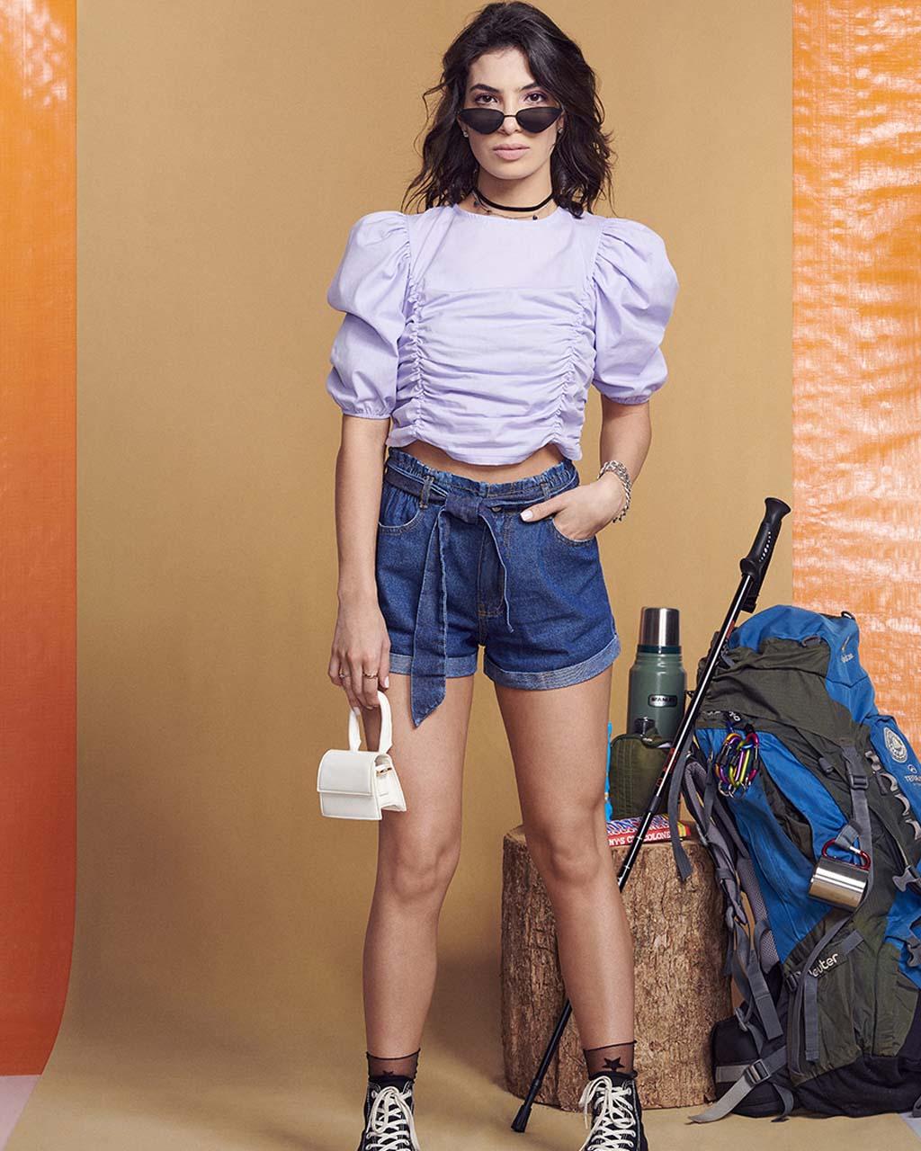 Shorts Teen Jeans com Cinto Faixa e Barra Dobrada Authoria