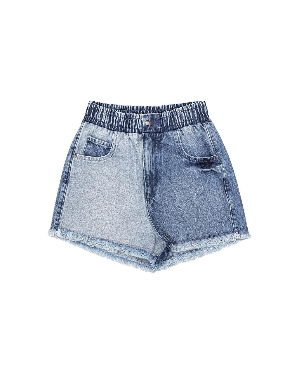 Shorts Teen Jeans Duas Lavagens Cós Elástico Authoria