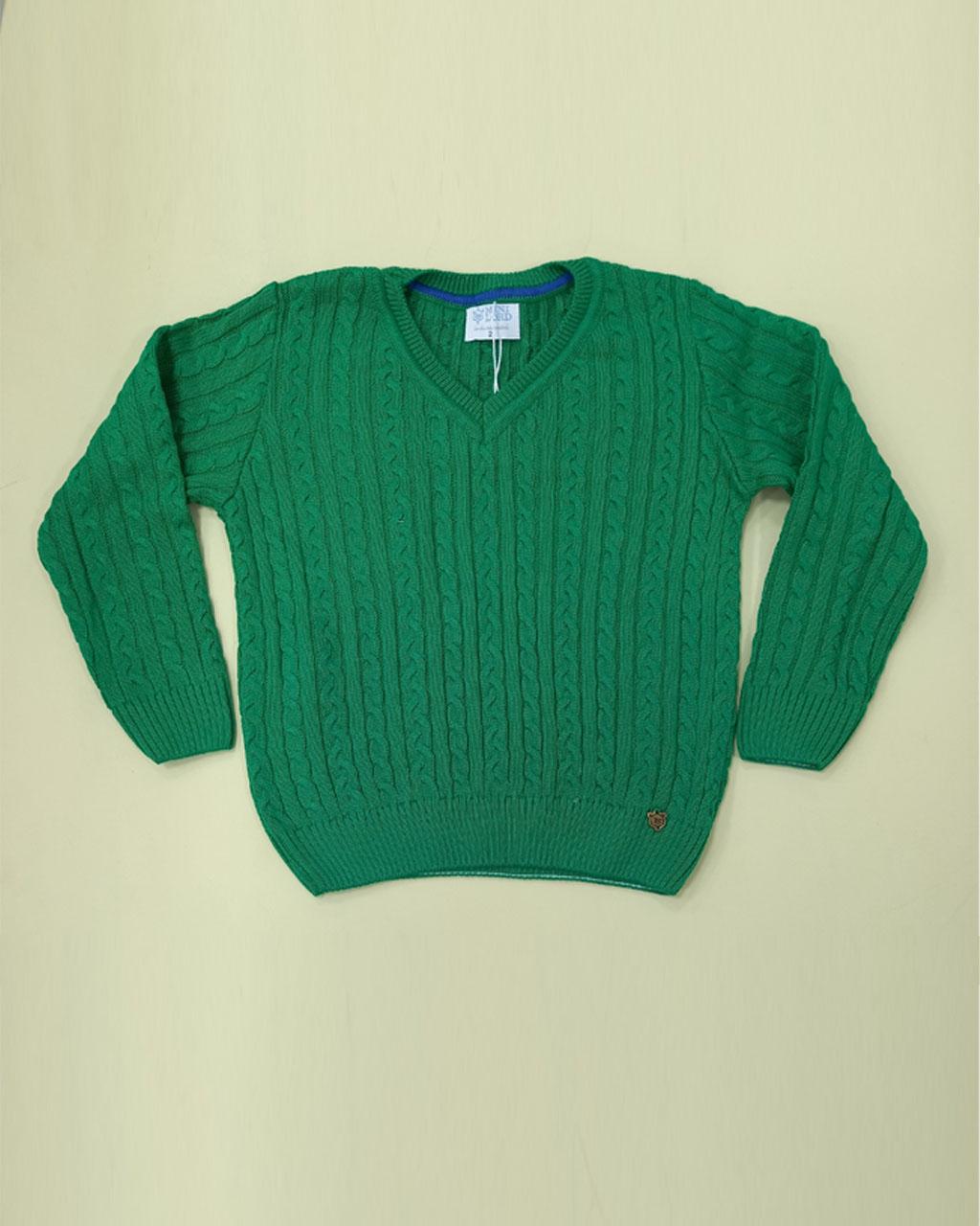 Sweater Infantil Tricô Verde Mini Lord