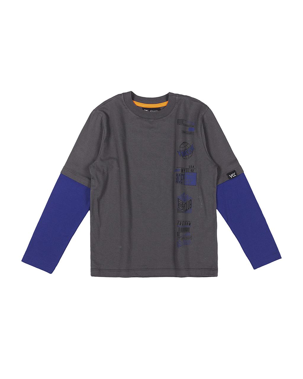 T-Shirt Chumbo Falsa Sobreposição Mangas Azul Royal Youccie