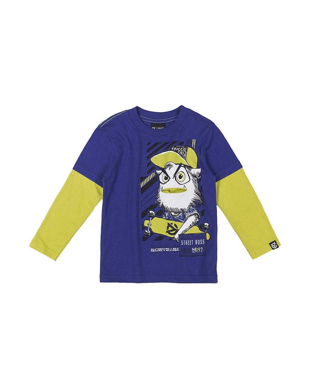 T-Shirt First Sobreposição Royal Mangas Amarelas Boca Interatiiva Youccie
