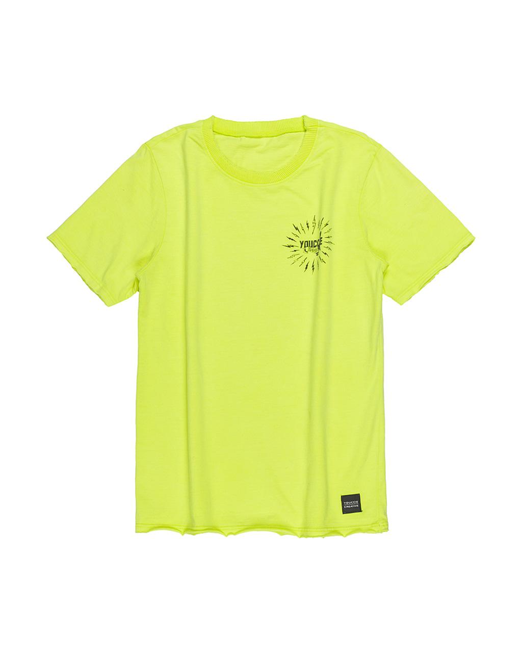 T-Shirt Infantil com Lavação Amarelo Neon Youccie