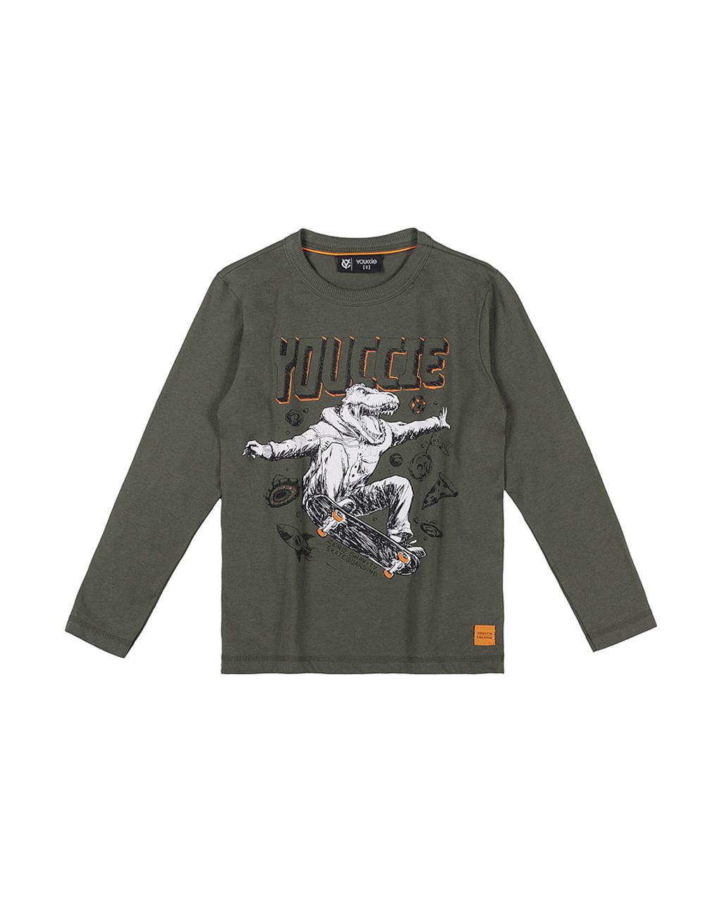 T-Shirt Infantil Dino De Skate Verde Militar Youccie