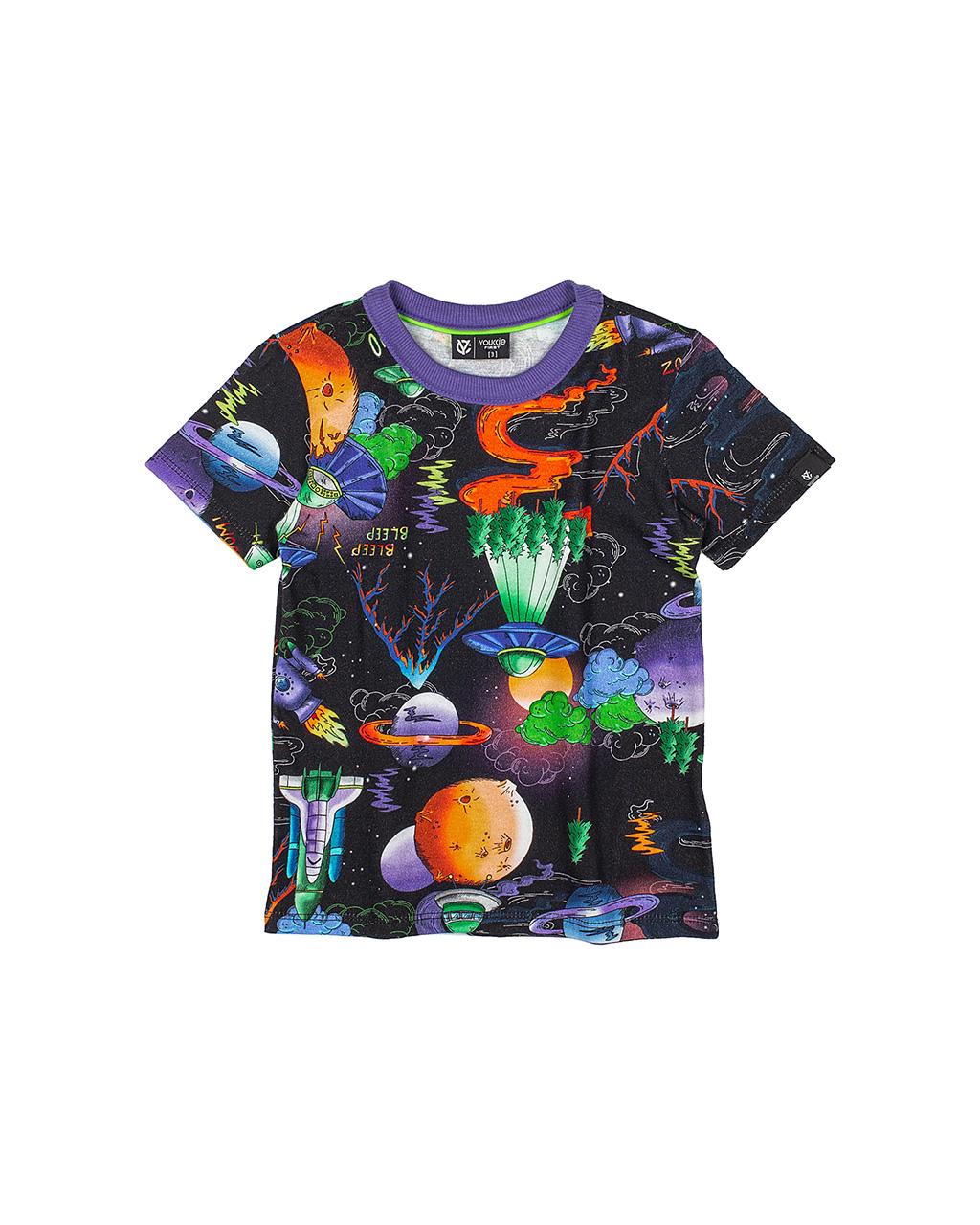 T-Shirt Infantil Espacial Preta Youccie