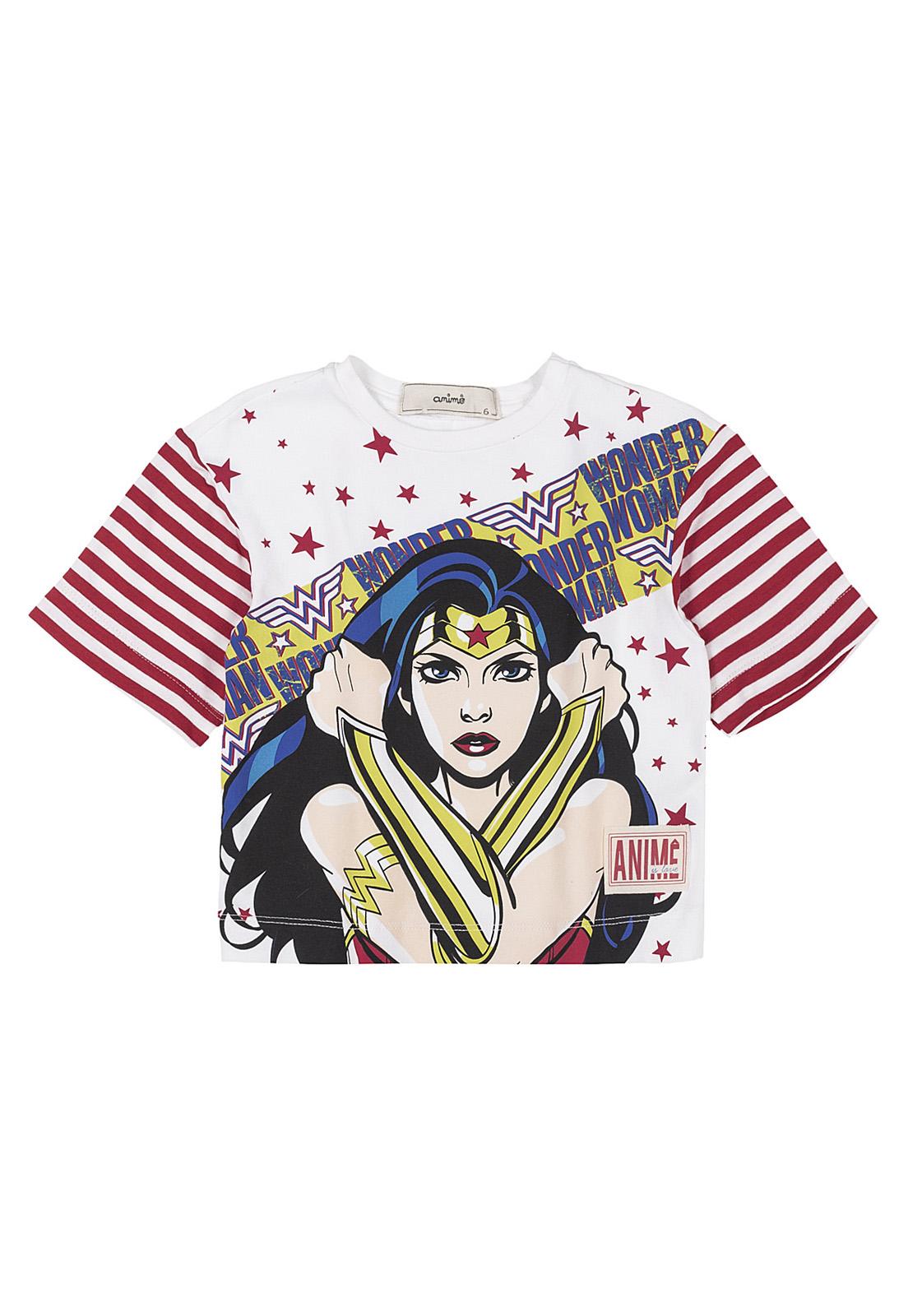T-Shirt Infantil Estampa Mulher Maravilha Animê
