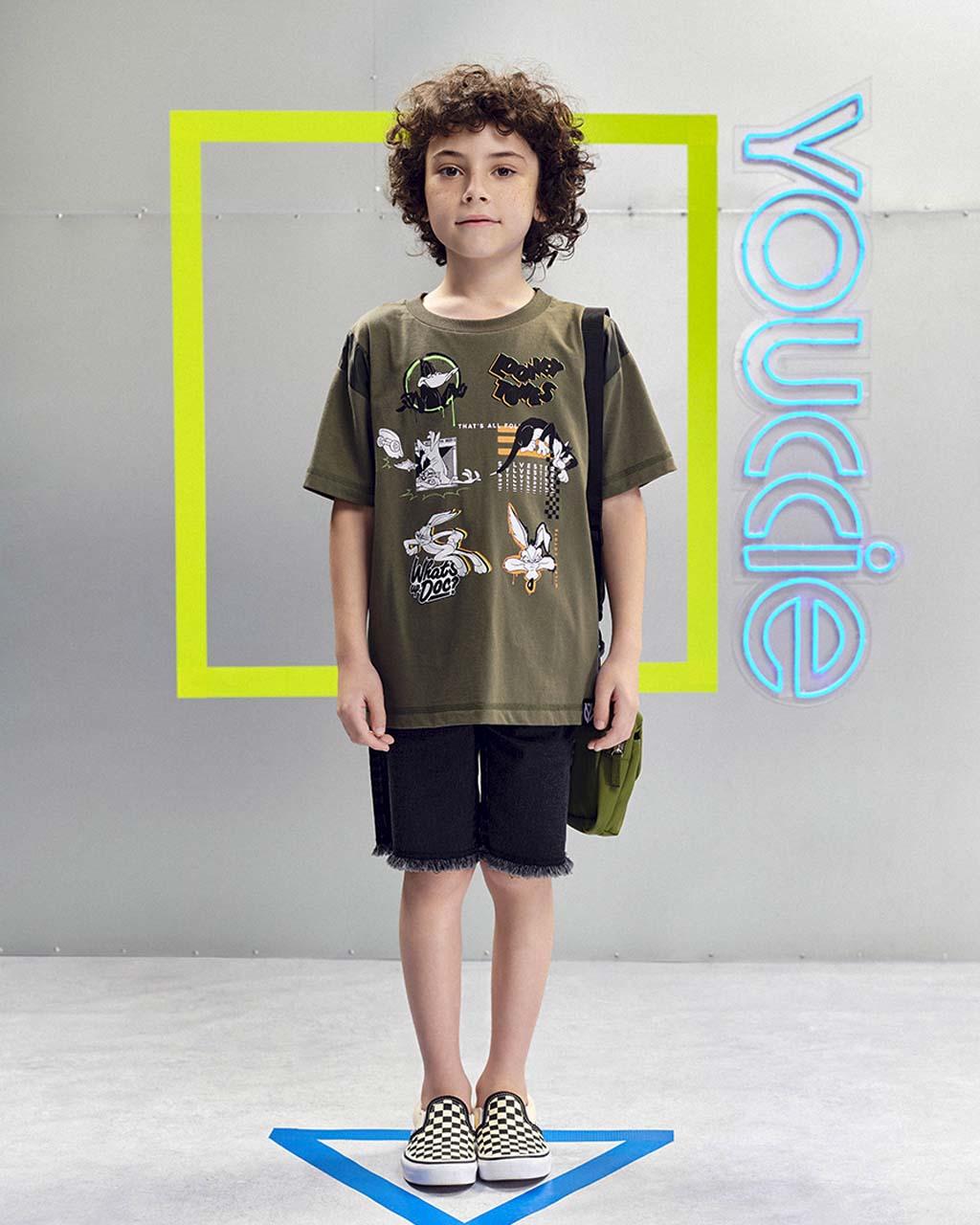 T-Shirt Infantil Looney Tunes Verde Militar Youccie
