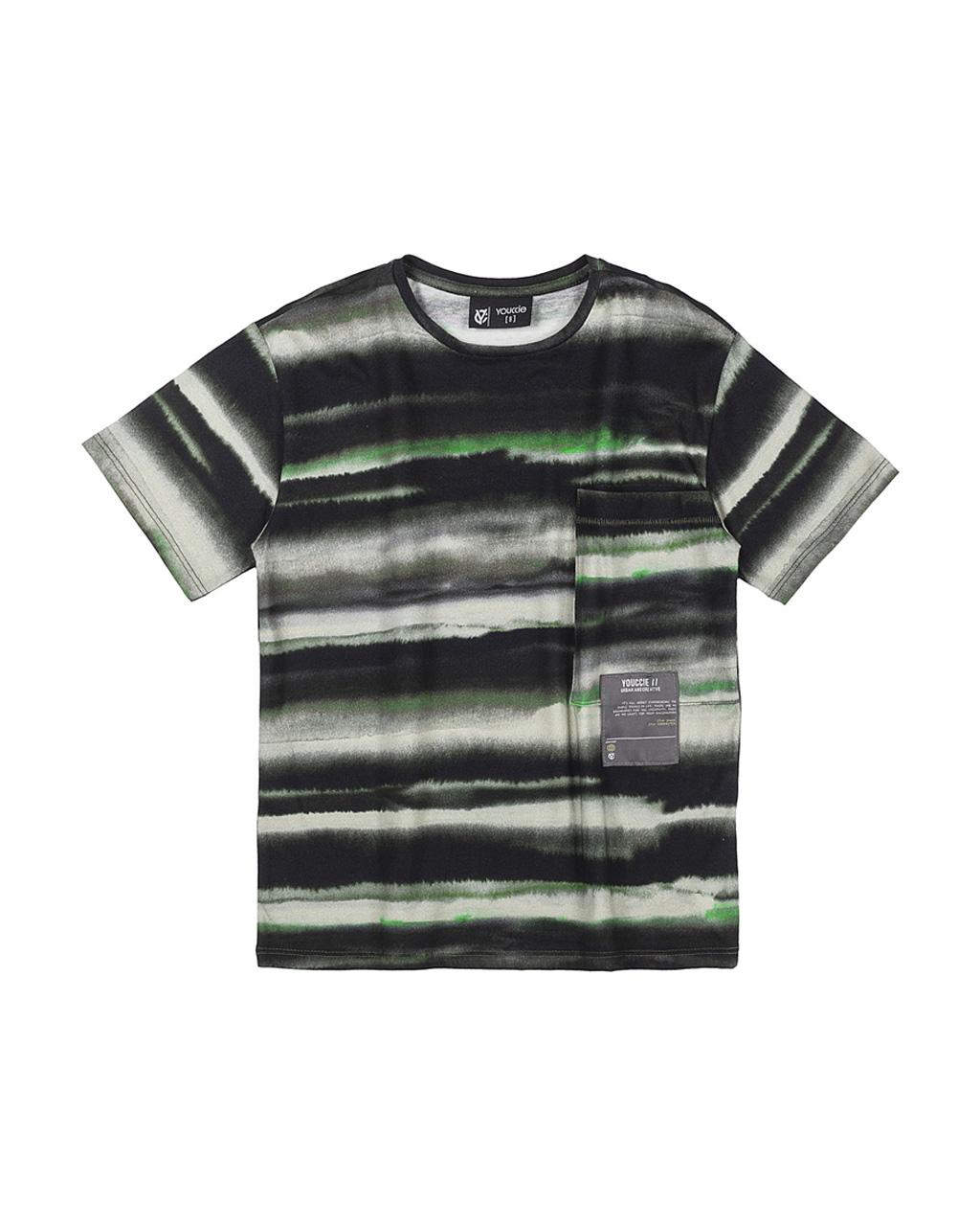 T-Shirt Infantil Malha Com Bolso Manchado Aquarela Verde Militar Youccie