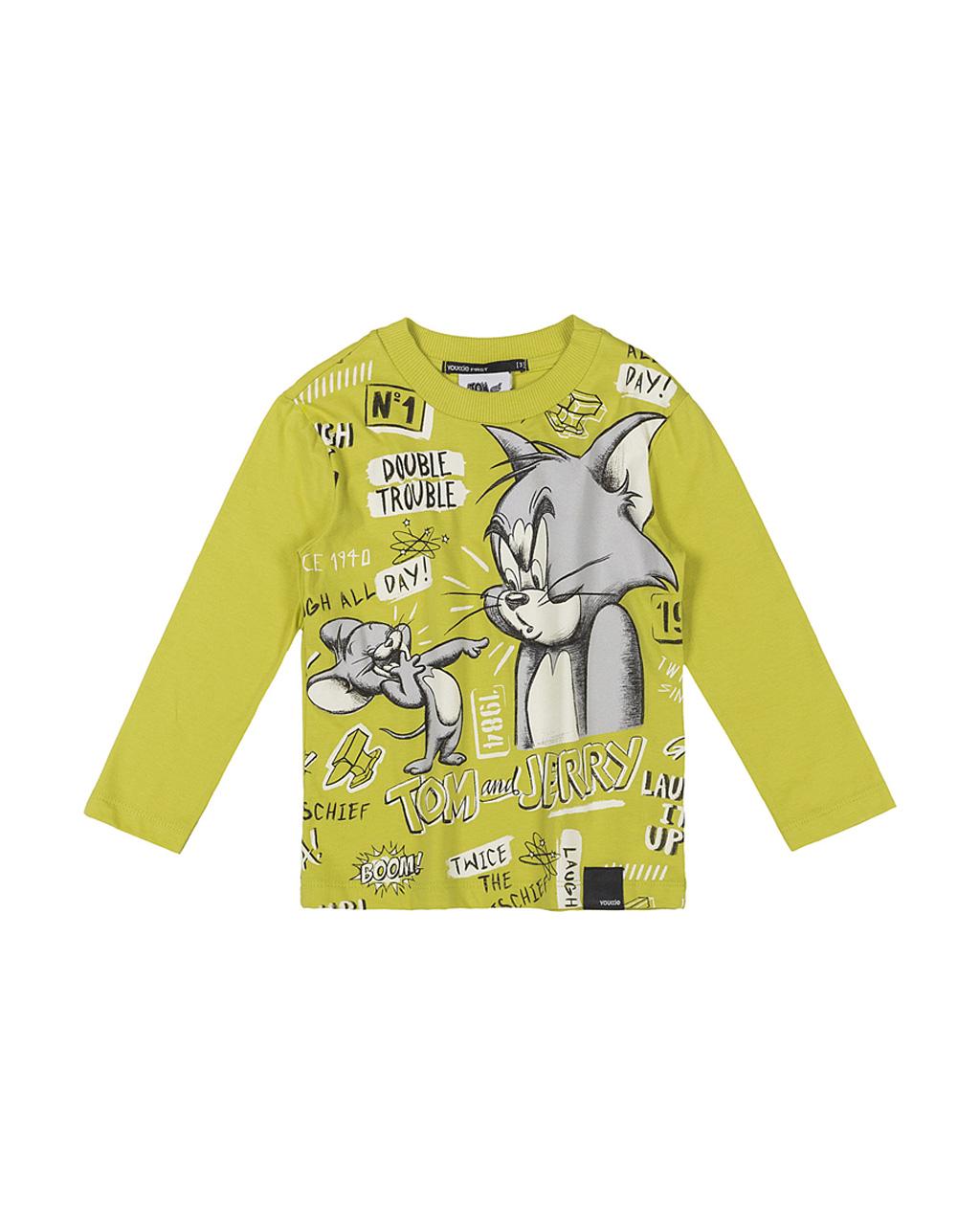 T-Shirt Infantil Masculina Manga Longa Tom And Jerry Amarelo Lima Youccie