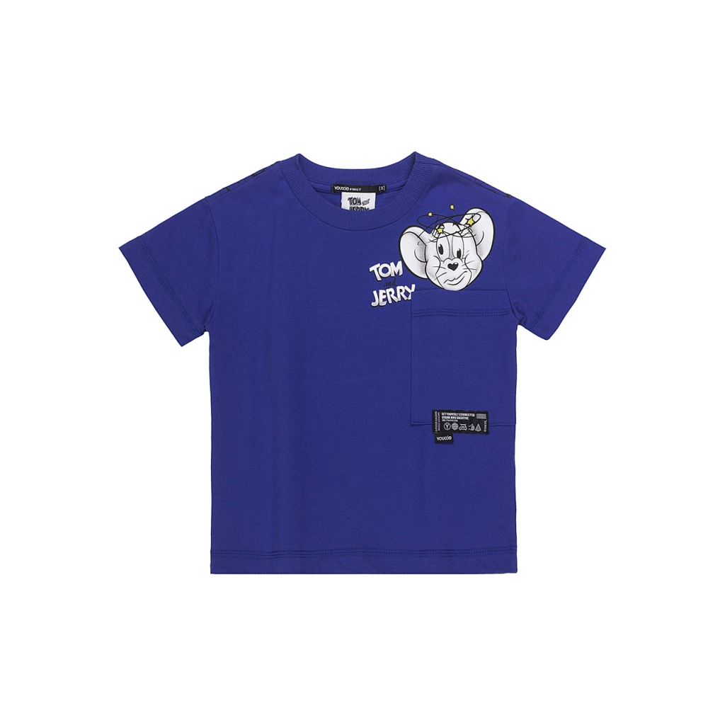 T-Shirt Infantil Masculina Tom and Jerry com Bolso Azul Royal Youccie