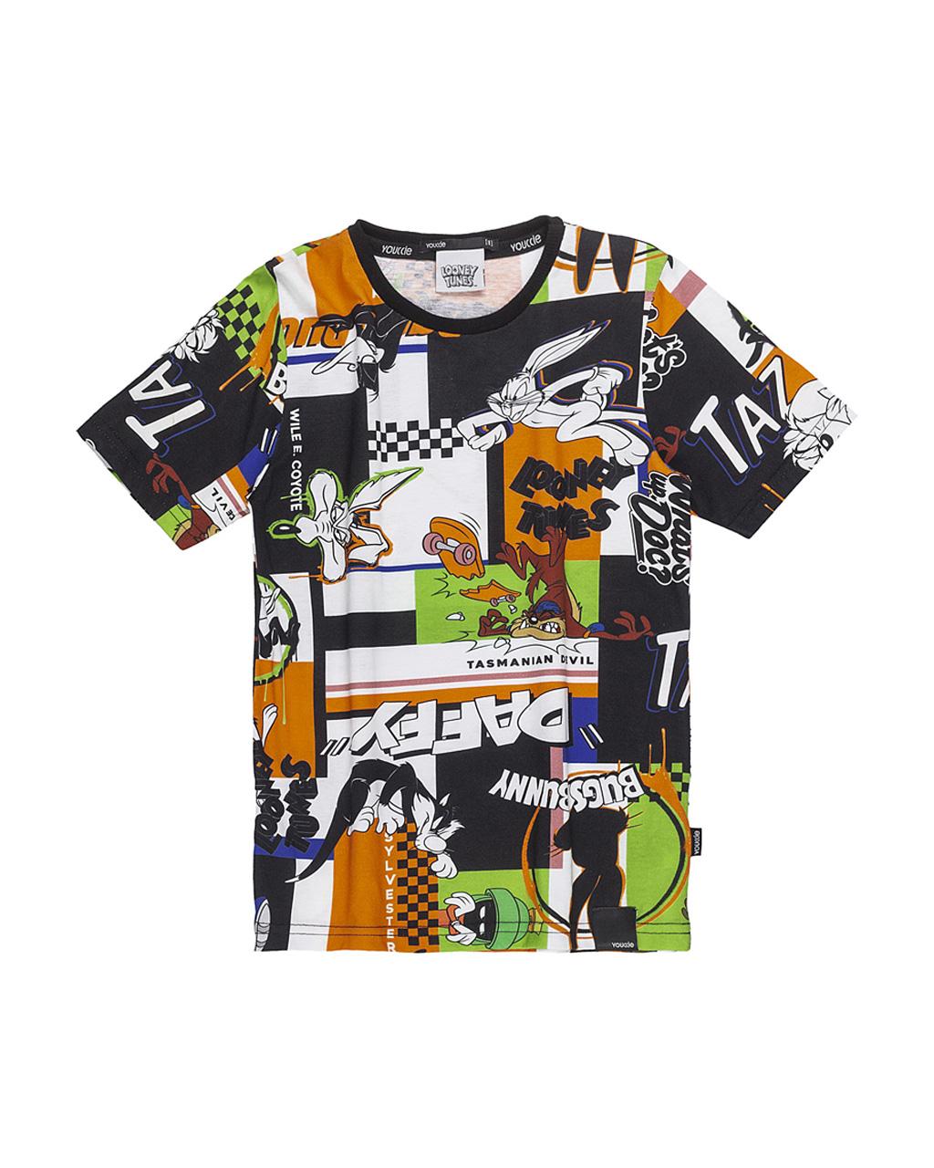 T-Shirt Infantil Roativo Digital  Looney Tunes Preto Youccie