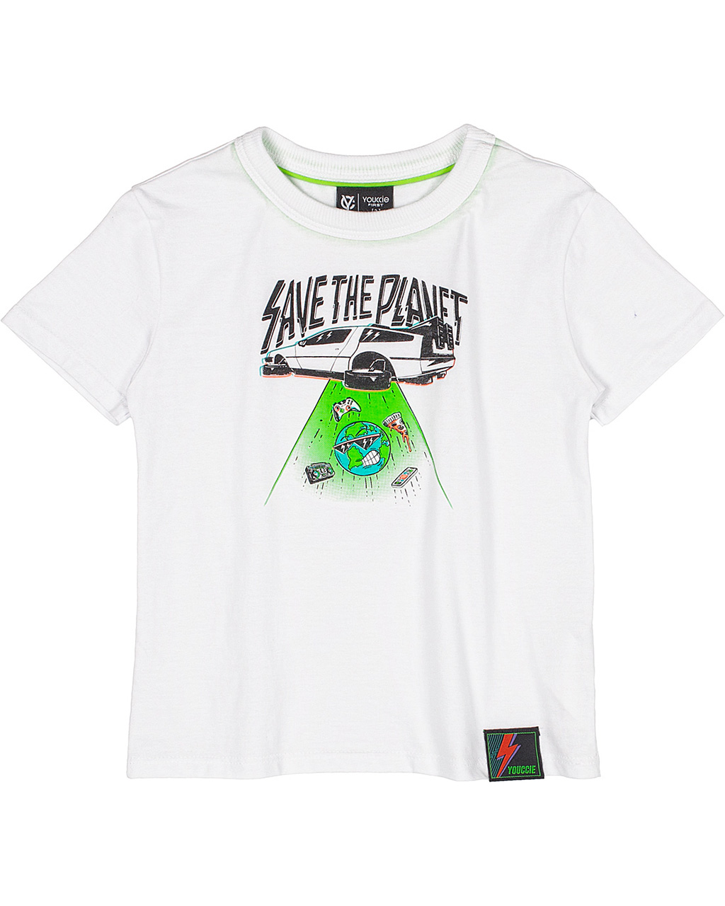 T-Shirt Infantil Save The Planet Off White Youccie