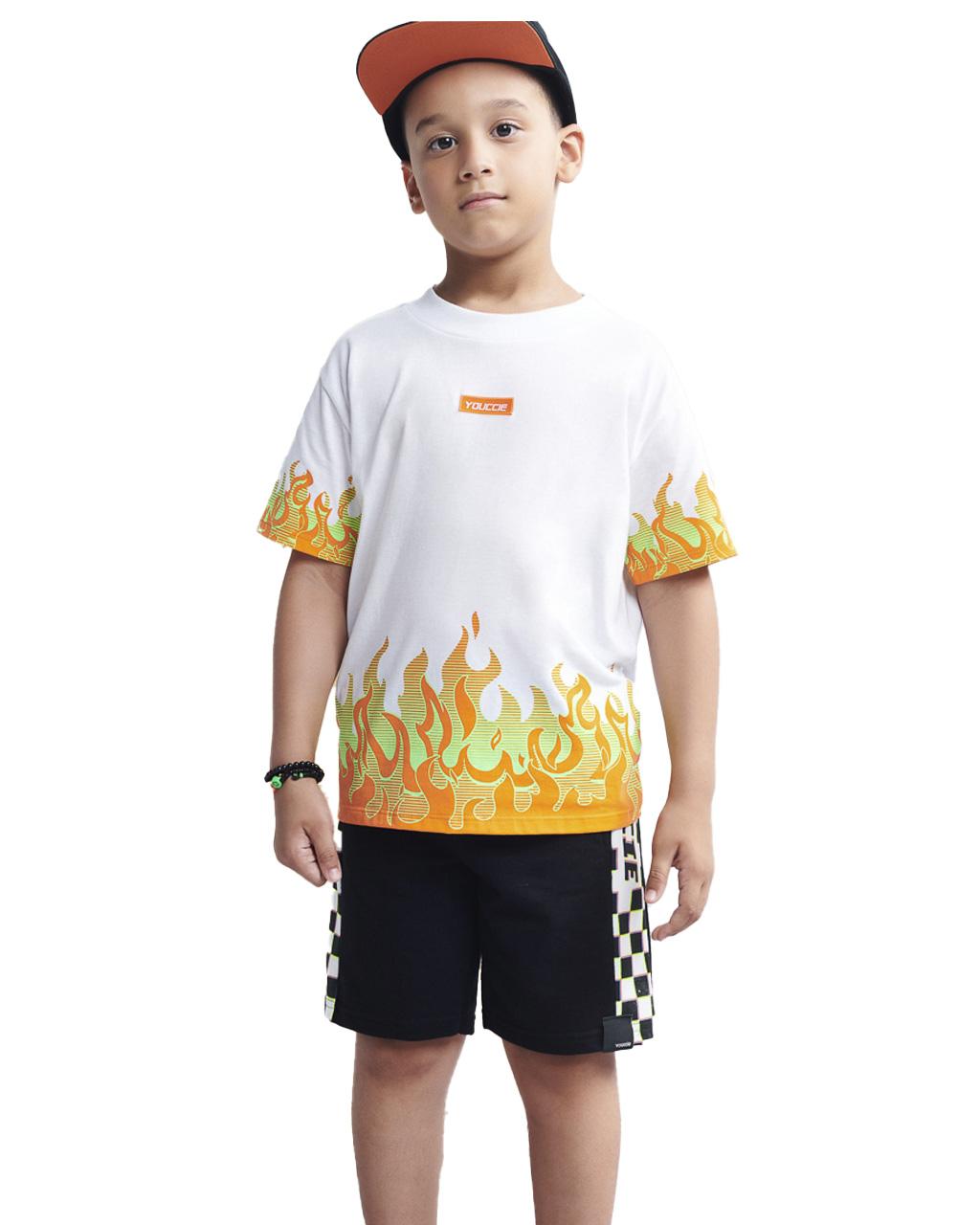 T-Shirt Infantil Silk Fogo Off White Youccie