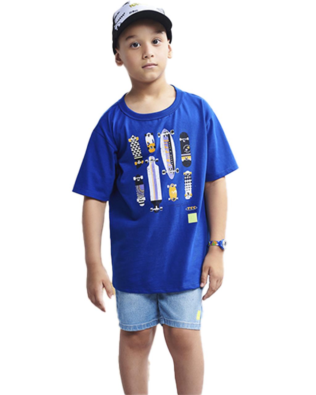 T-Shirt Infantil Skates Azul Royal Youccie