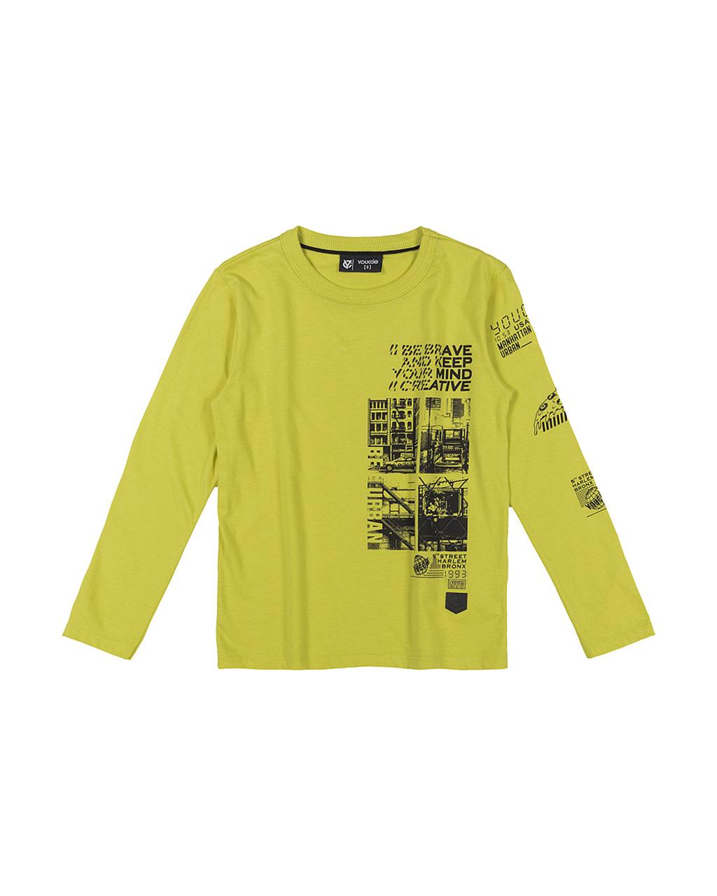 T-Shirt Masculina Manga Longa Amarelo Citrus Youccie