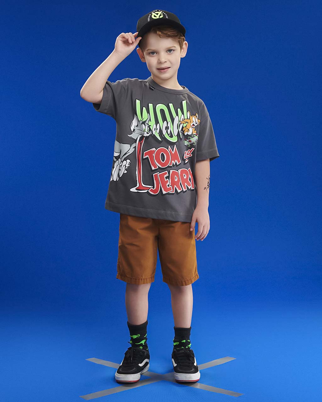 T-Shirt Masculina Tom e Jerry Cinza Youccie