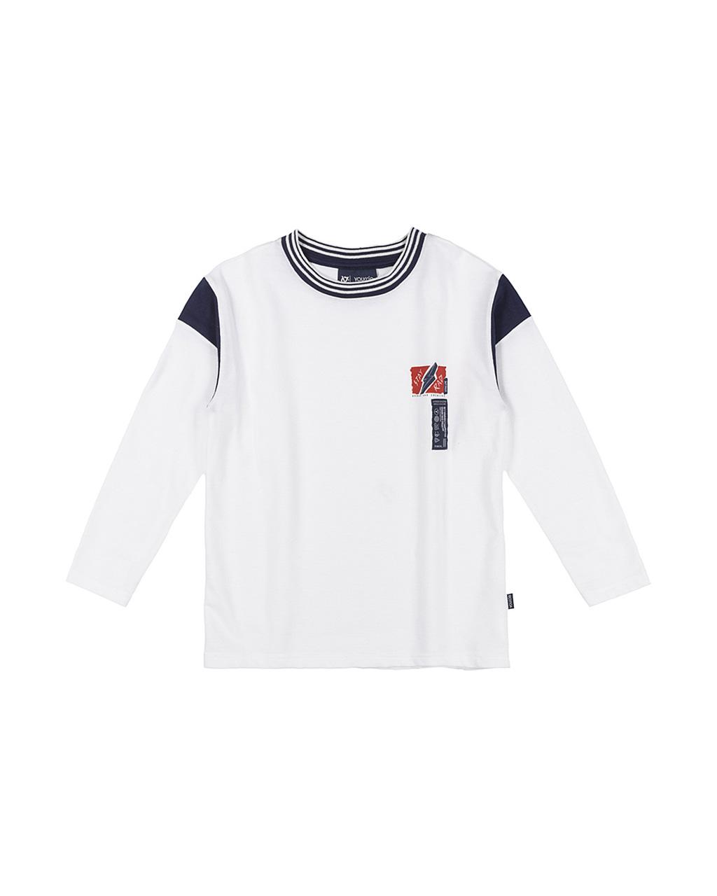 T-Shirt Moletinho Off White Com Marinho Gola Retilínea Youccie