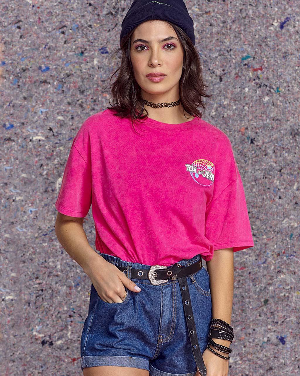 T-Shirt Teen Beija Cós Pink Lavada Tom and Jerry Authoria