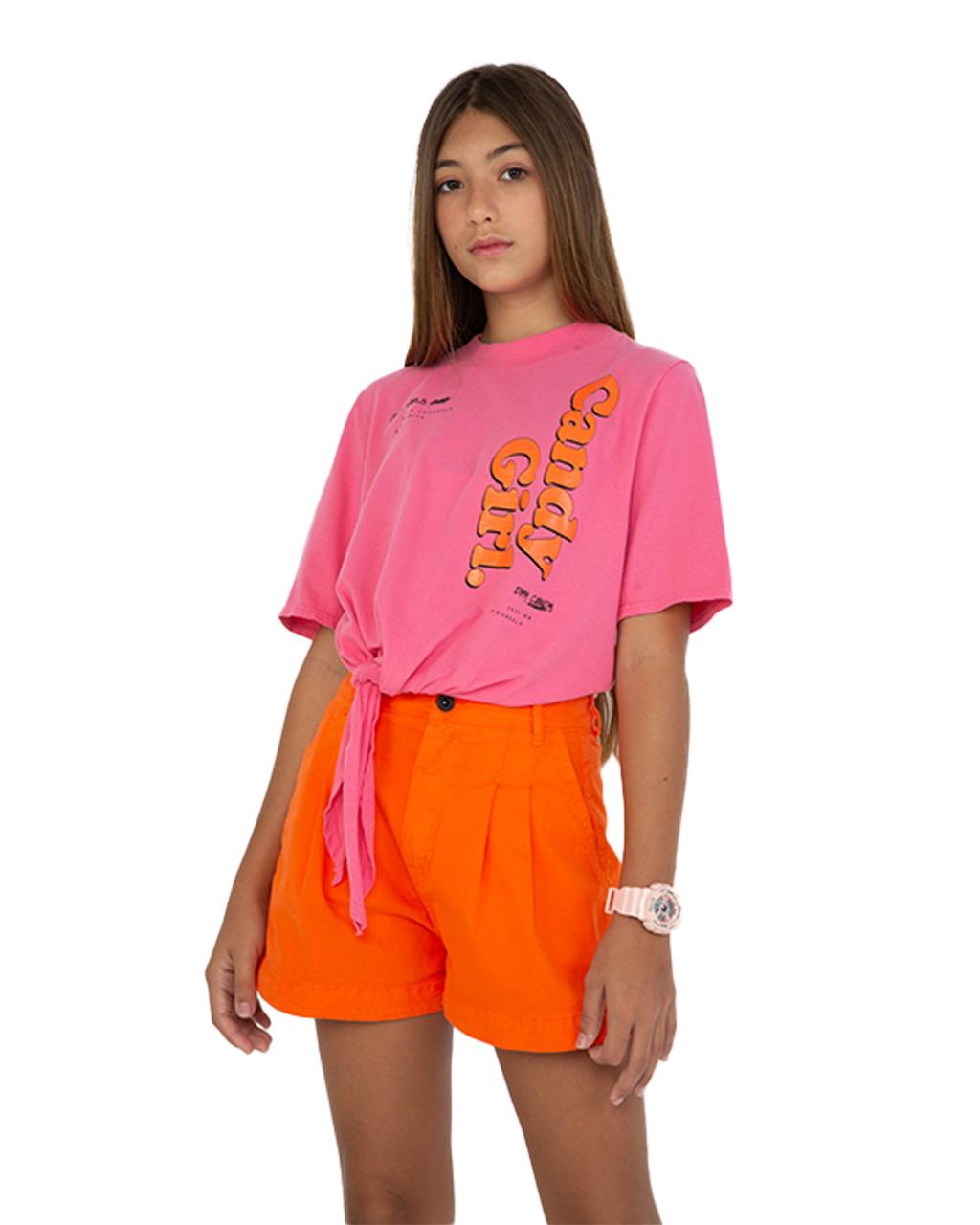 T-Shirt Teen Com Amarração Lateral Rosa Dimy Candy