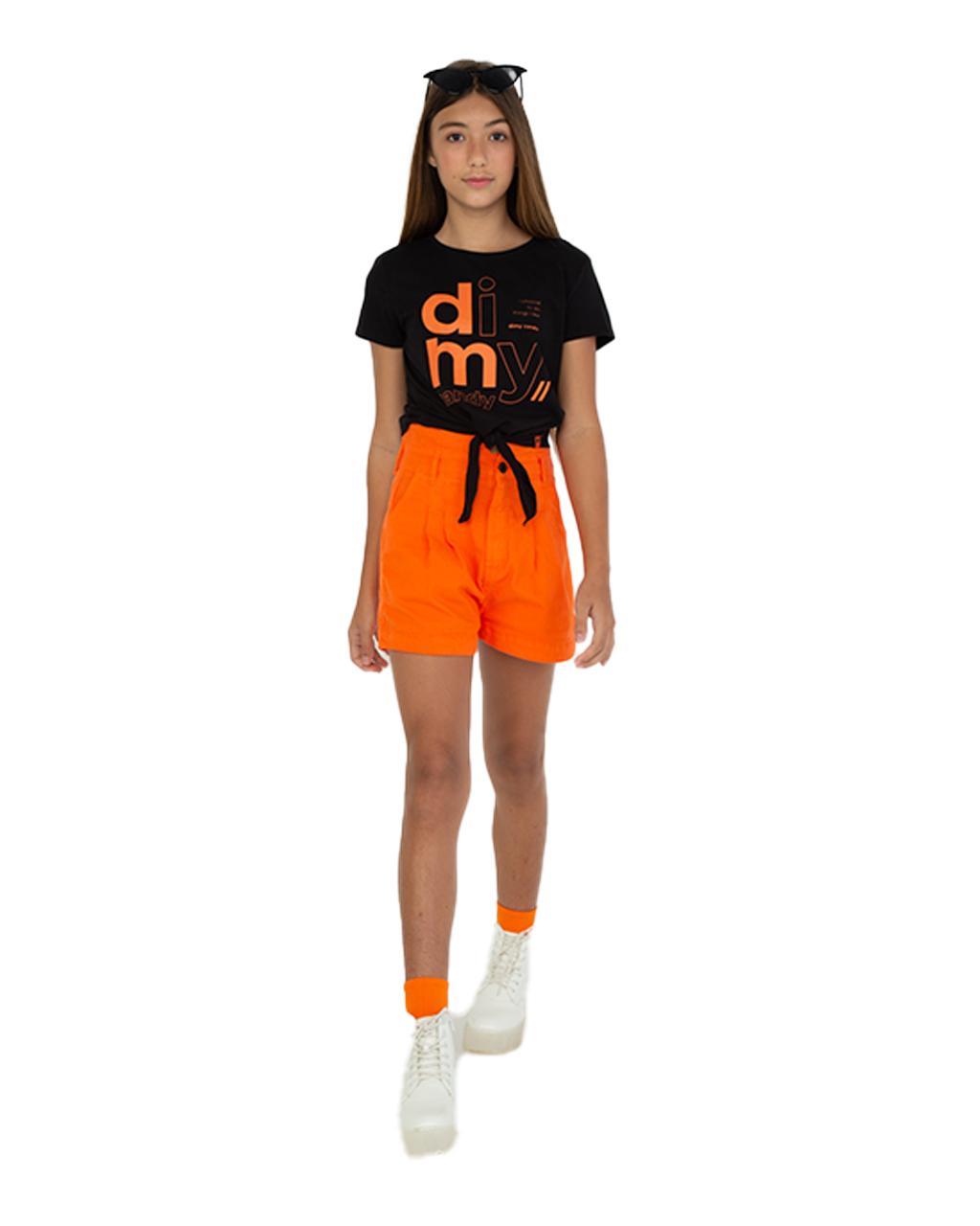 T-Shirt Teen com Amarração Preto Dimy Candy