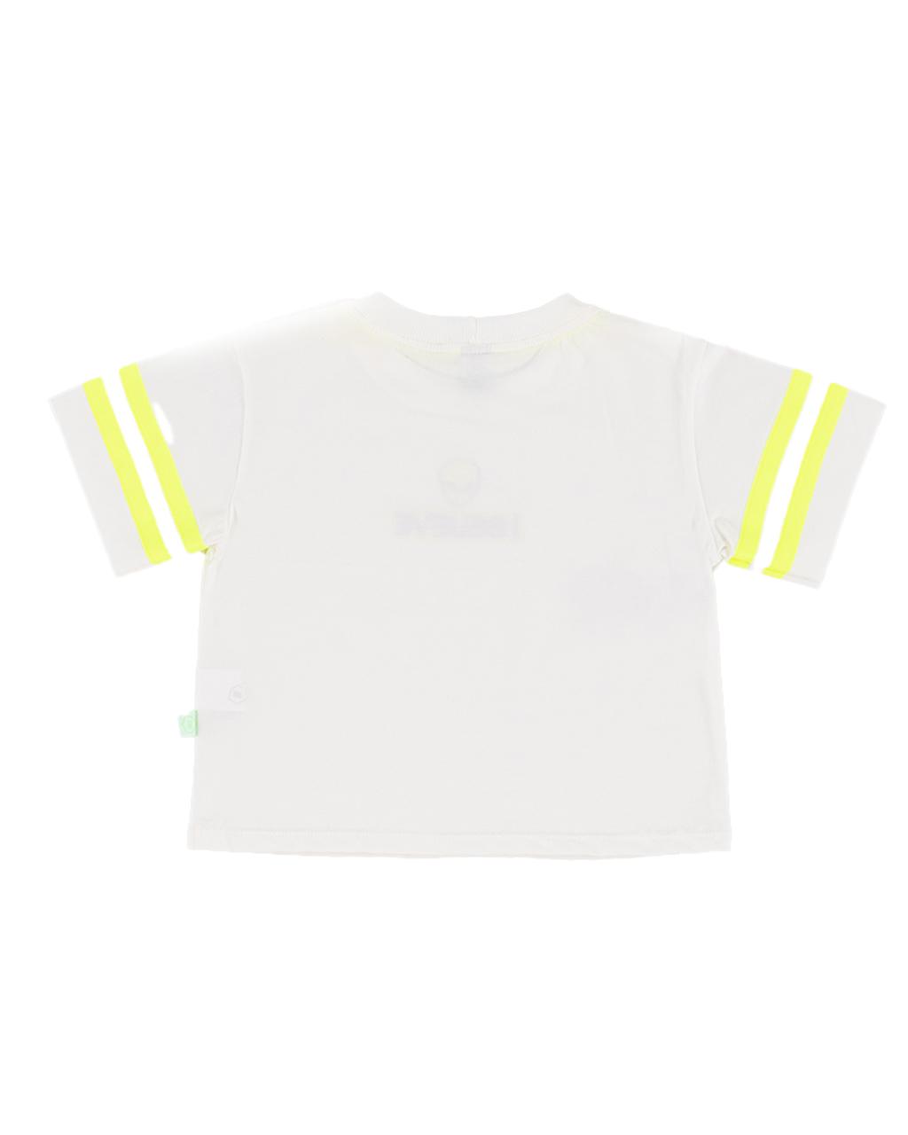T-Shirt Teen Detalhes Neon Off White Um Mais Um