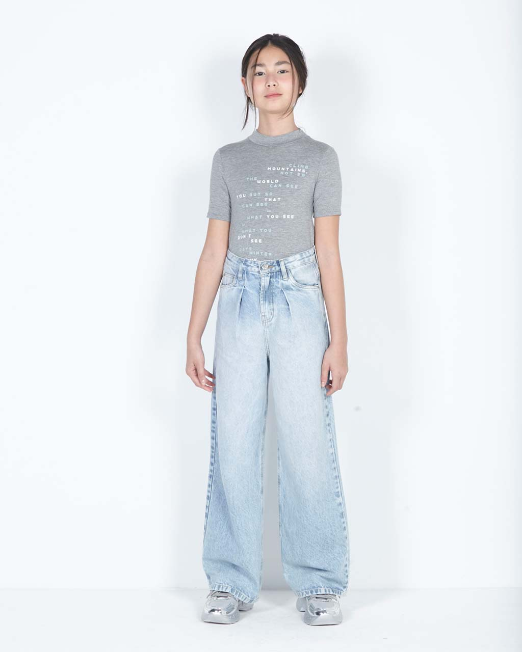 T-Shirt Teen Slim Cinza Mescla Dimy Candy