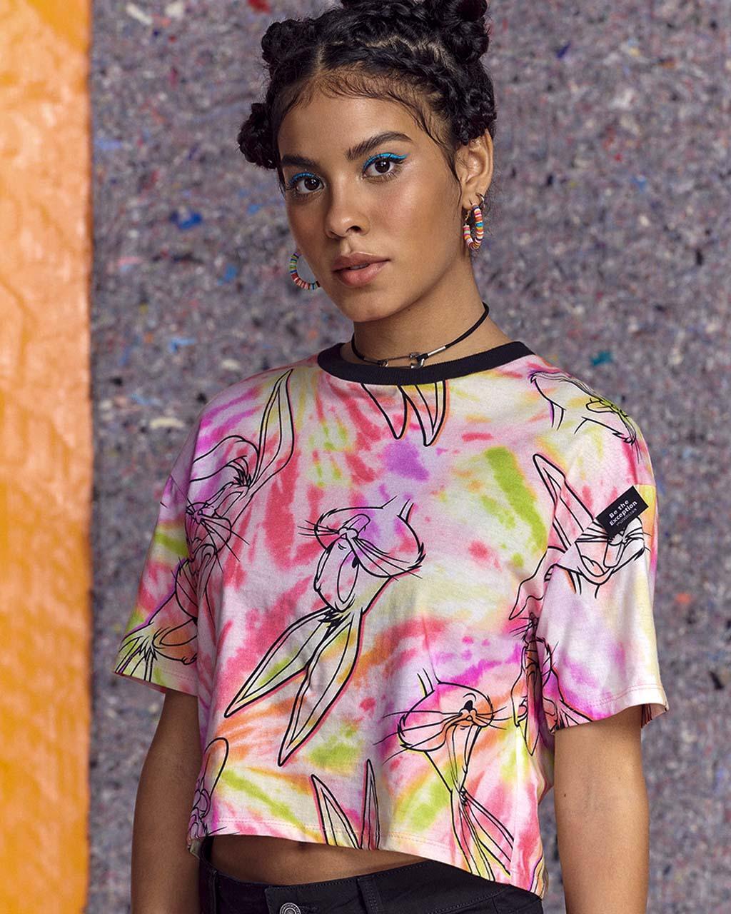 T-Shirt Teen Tie Dye Coelho Perna Longa Authoria