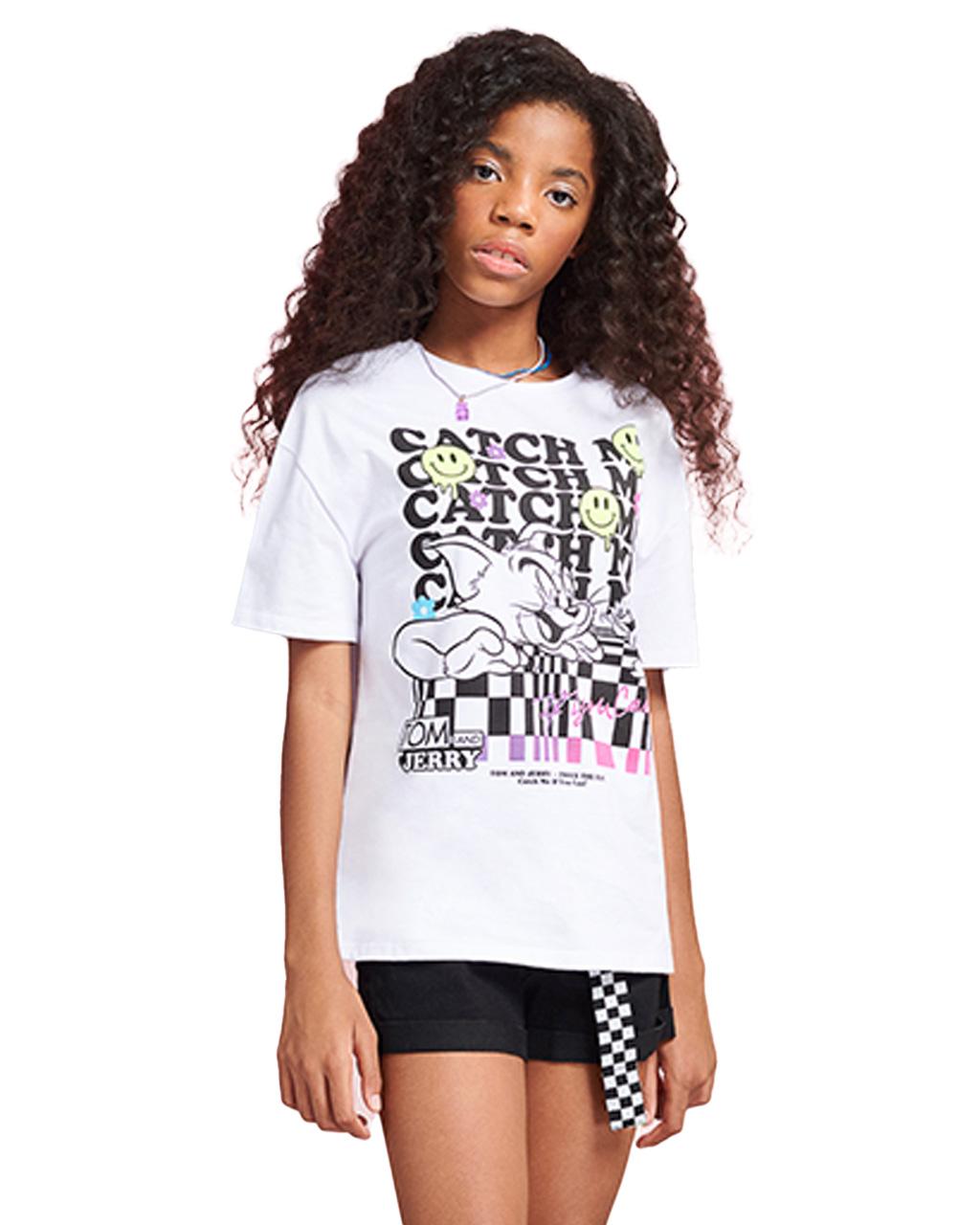 T-Shirt Teen Tom e Jerry Off White I Am