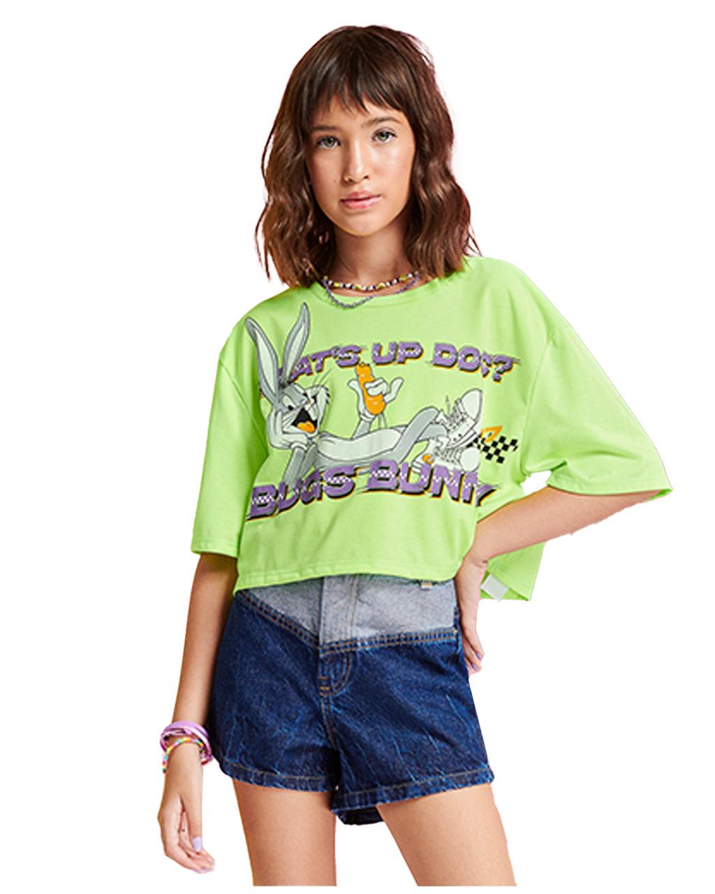 T-Shirt Teen Verde Neon Looney Tunes I Am