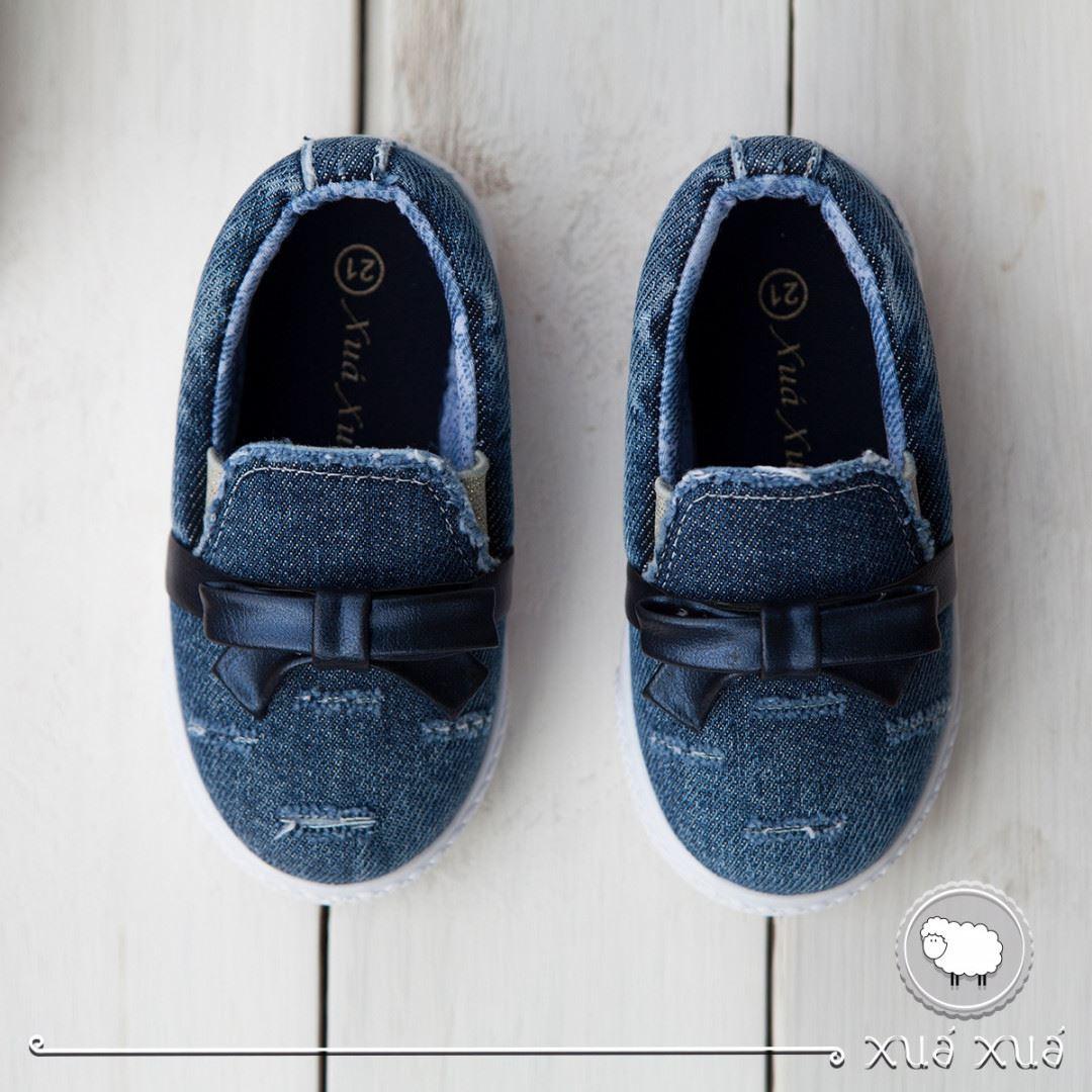 Tênis Infantil Jeans Laço Courino Xuá Xuá