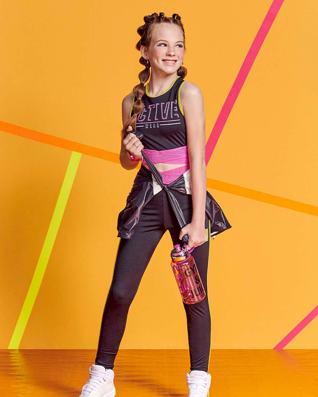 Top Teen Active Preto com Barra de Tela Pink Authoria